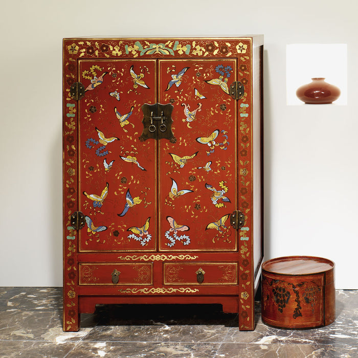 Chinese Shanxi Butterfly Cabinet, Red Lacquer