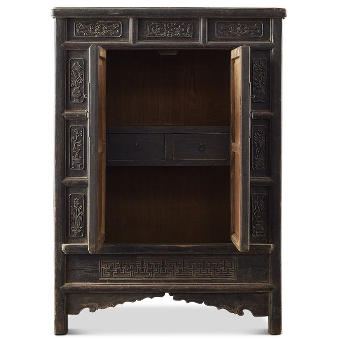 Carved Elm Chinese Antique Shanxi Cabinet