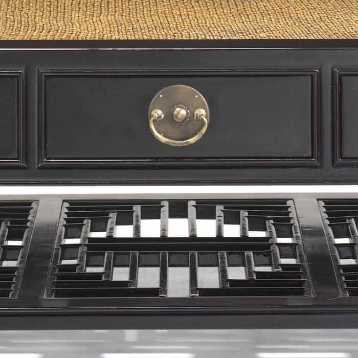 Carved Coffee Table, Black Lacquer