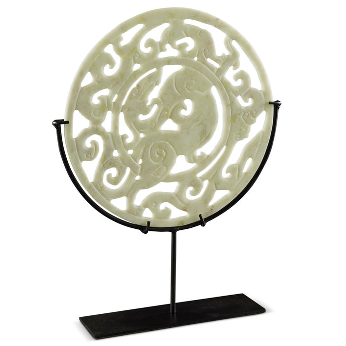Carved Jade Ring on Stand