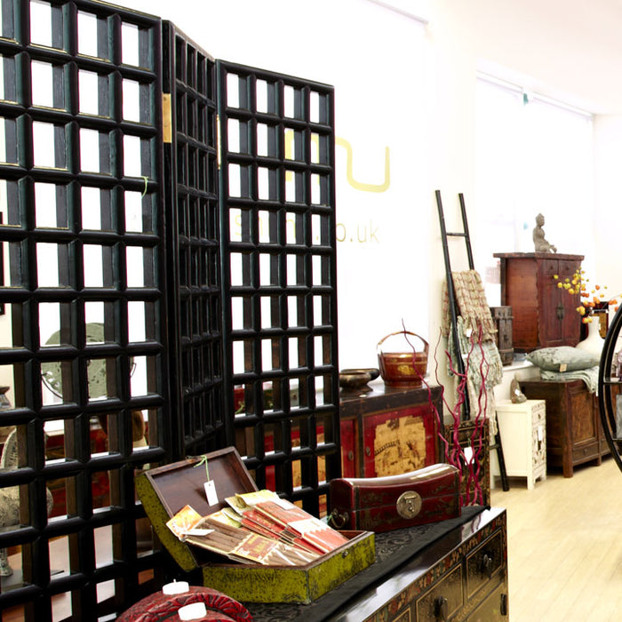 Carved Lattice Screen, Black Lacquer