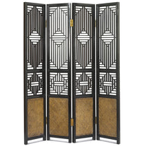 Carved Ming Screen, Black Lacquer