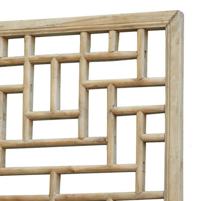 Chinese Antique, Geometric Lattice Carved Panel