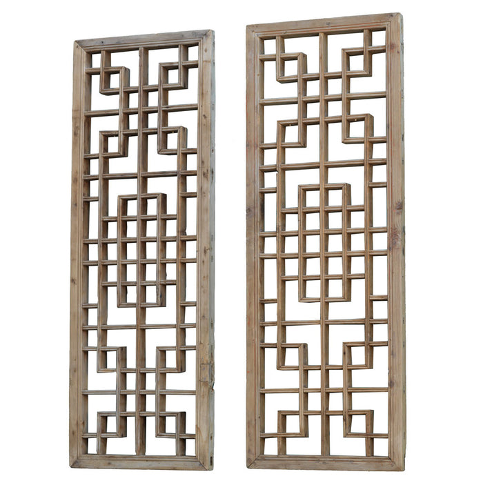 Pair of Antique Chinese Wooden Lattice Wall Panels