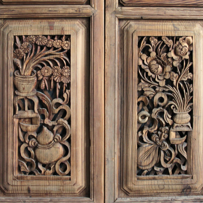 Antique Chinese Carved Four Panel Screen