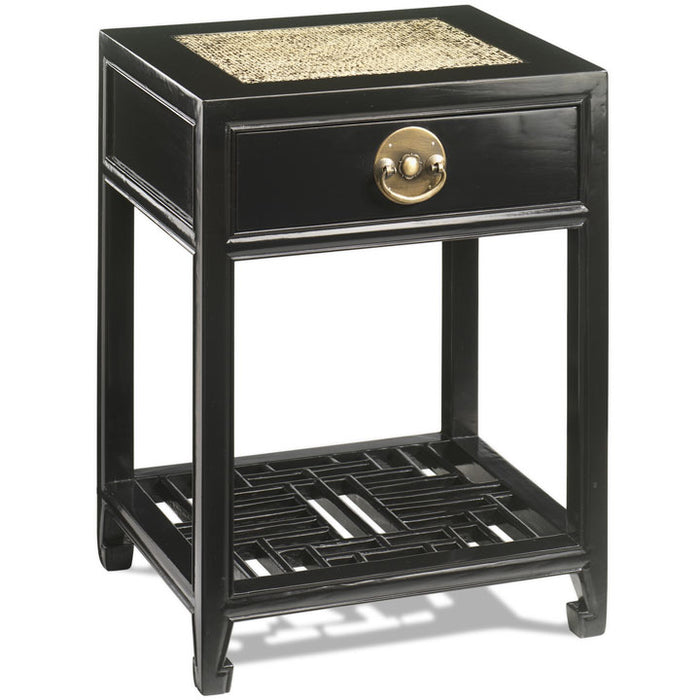 Carved Side Table, Black Lacquer