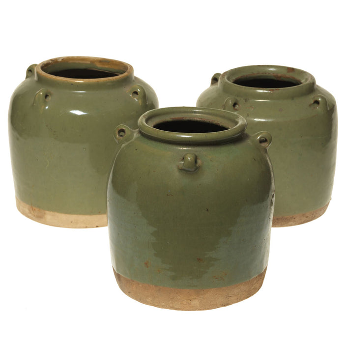 Vintage Chinese Celedon Green Ceramic Jars