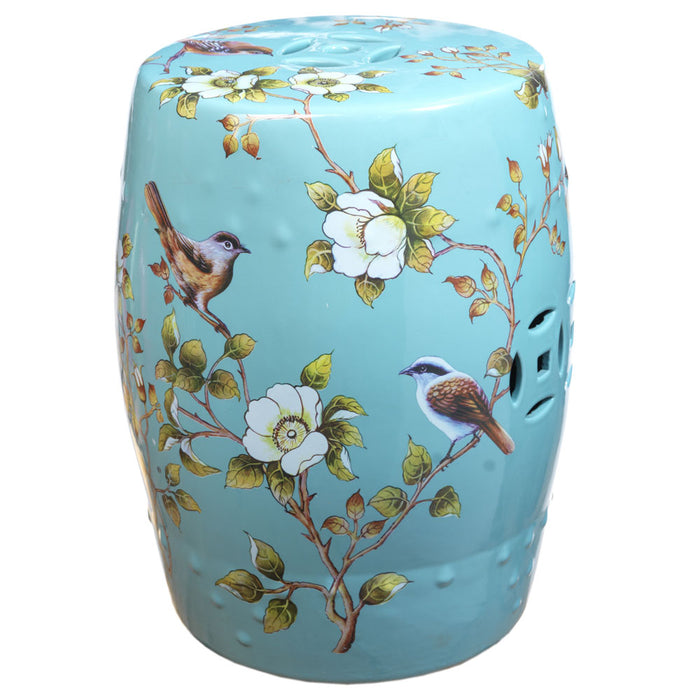 Pale Blue Ceramic Stool, Birds and Flowers