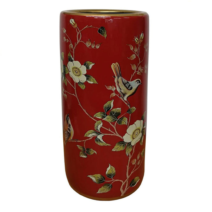 Red Umbrella Stand with Chaffinches