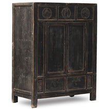 Antique Mid Sized Cabinet, Black Lacquer