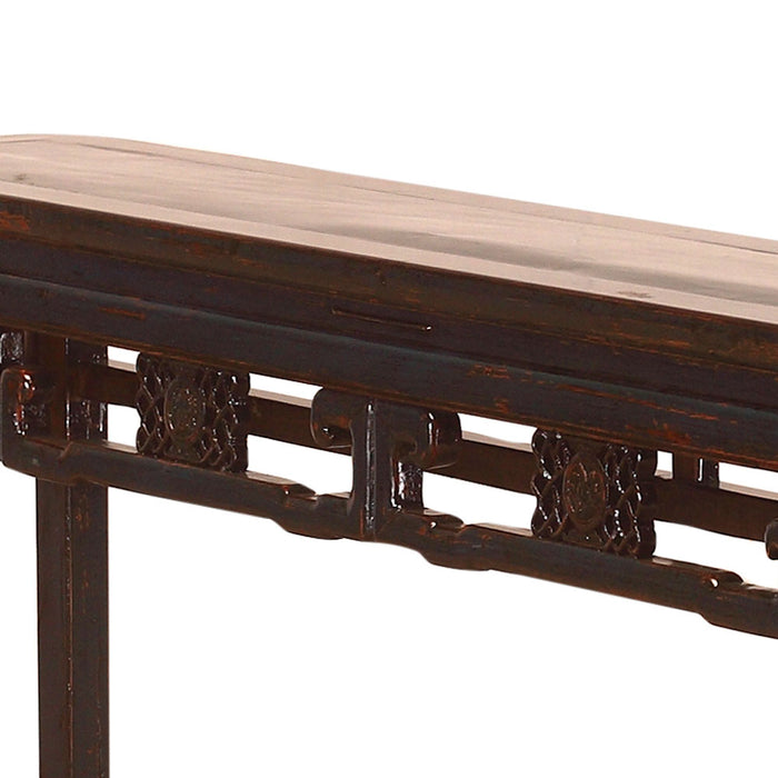 Chinese Antique Carved Blue Lacquer Console