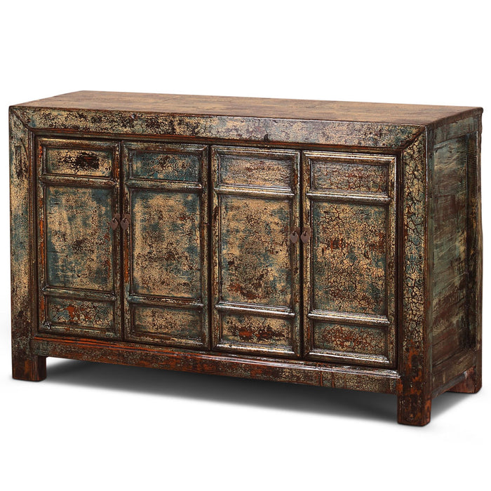 Chinese Antique Crackled Blue Panelled Sideboard