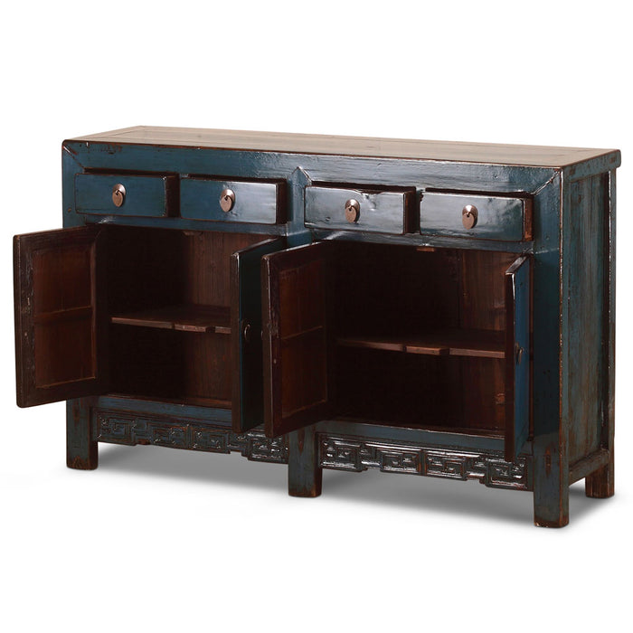 Blue Lacquer Chinese Antique Double Sideboard