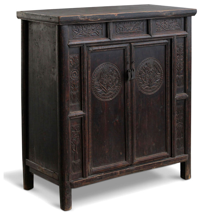 Black Lacquer Carved Shanxi Cabinet