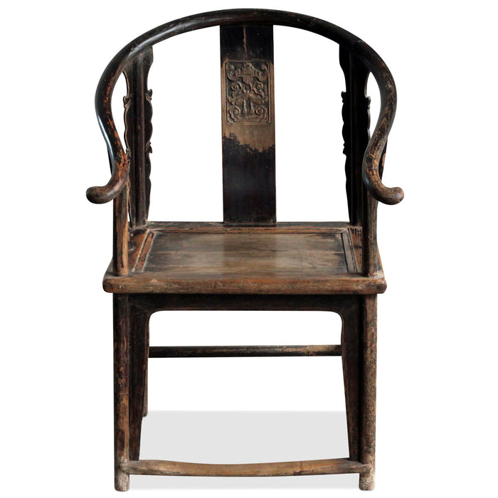 Antique Chinese Horseshoe Armchair with Bat Carving