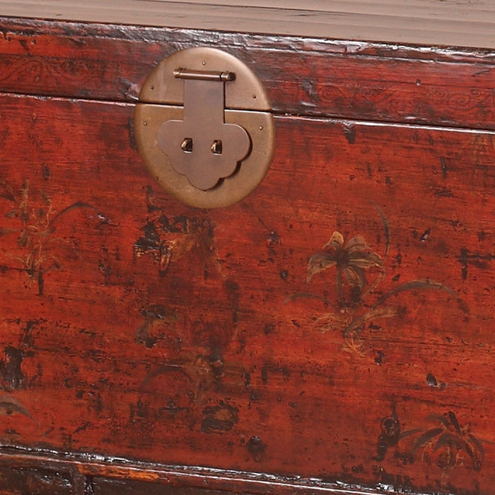Red Lacquer Chinese Antique Painted Blanket Box