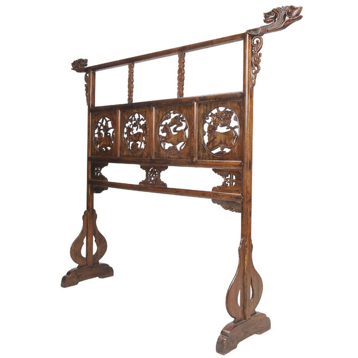 Carved Garment Rail, Chinese Antique