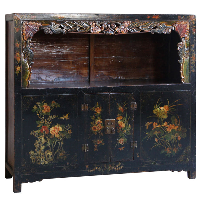 Black Lacquer Painted Display Cabinet