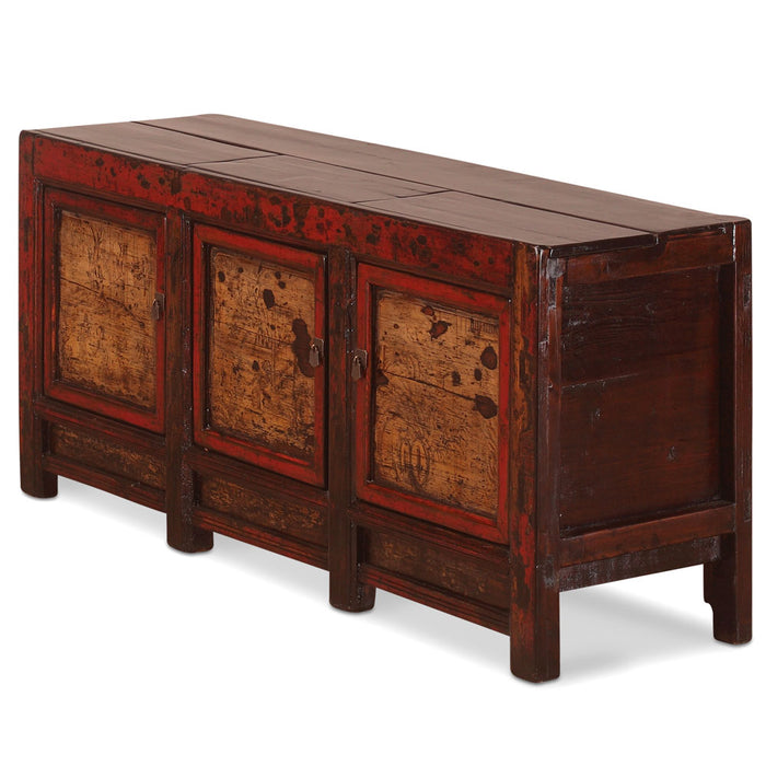 Low Red Laquer Chinese Antique Painted Sideboard