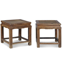 Pair of Chinese Antique Beech Stools