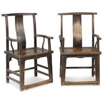 Pair of Walnut Yoke-Back Armchairs