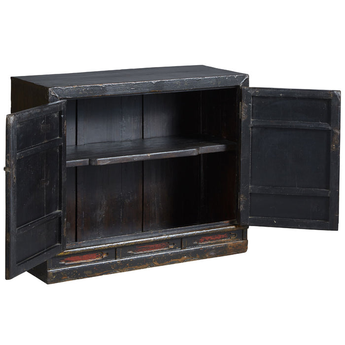 Painted Book Cabinet in Black Lacquer
