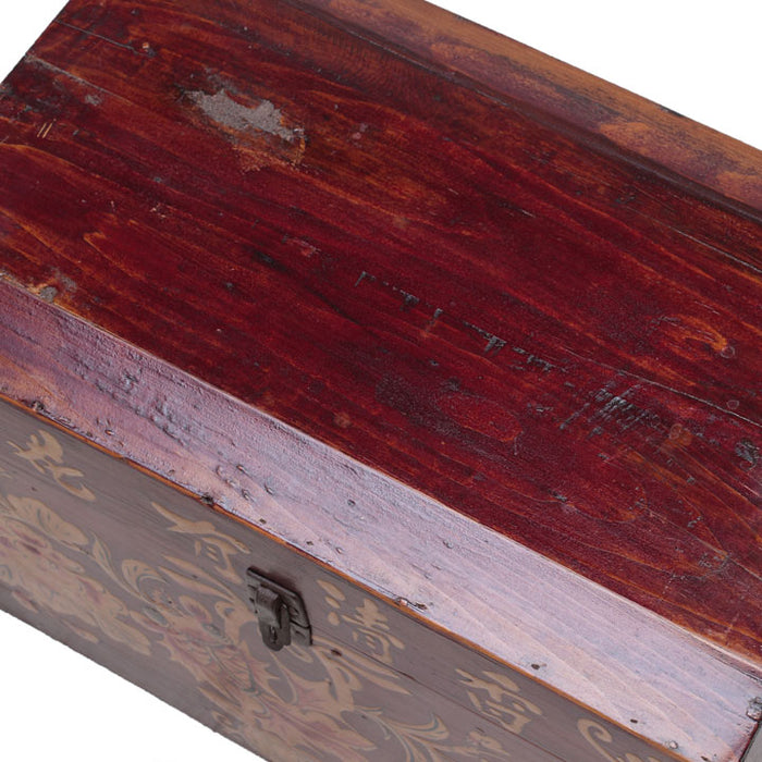 Wooden Storage Box with Gold Paintings