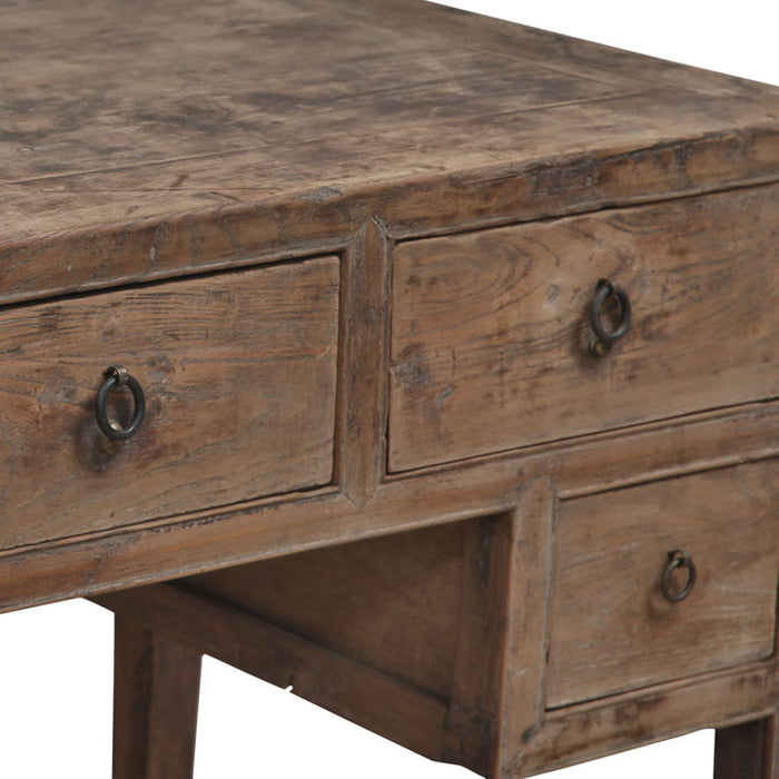 Chinese Elm Desk with Drawers