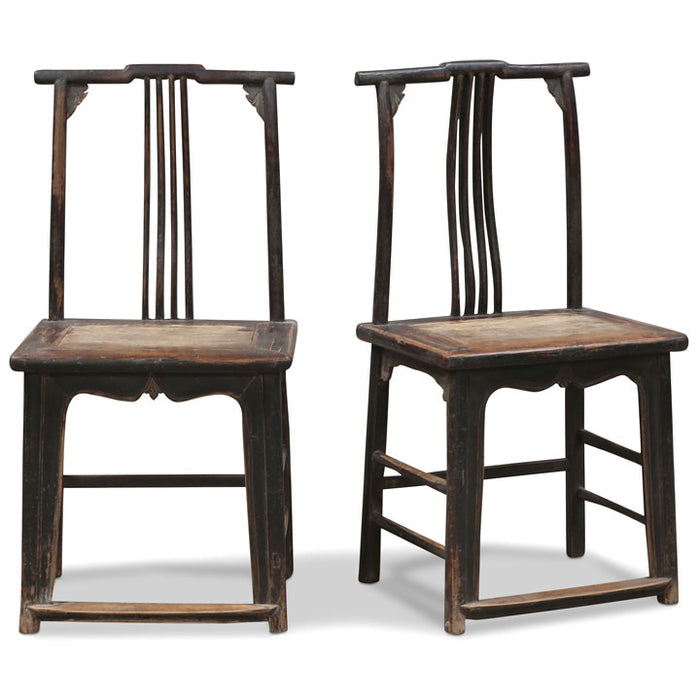 Pair of Elm Official's Hat Side Chairs