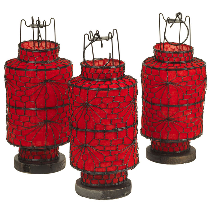 Wire and Canvas Lantern - Red Cylindrical