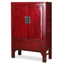 Armoire in Distressed Red Lacquer