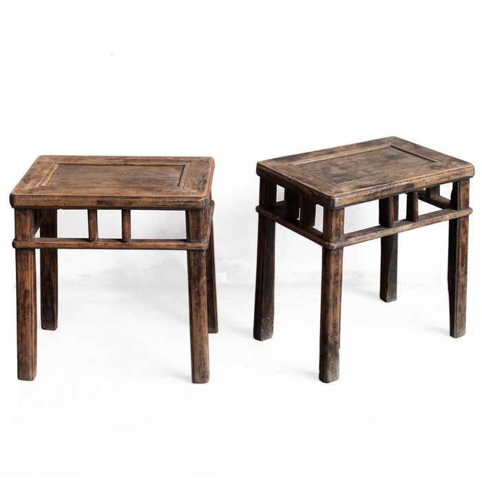 Pair of Chinese Antique Elm Stools