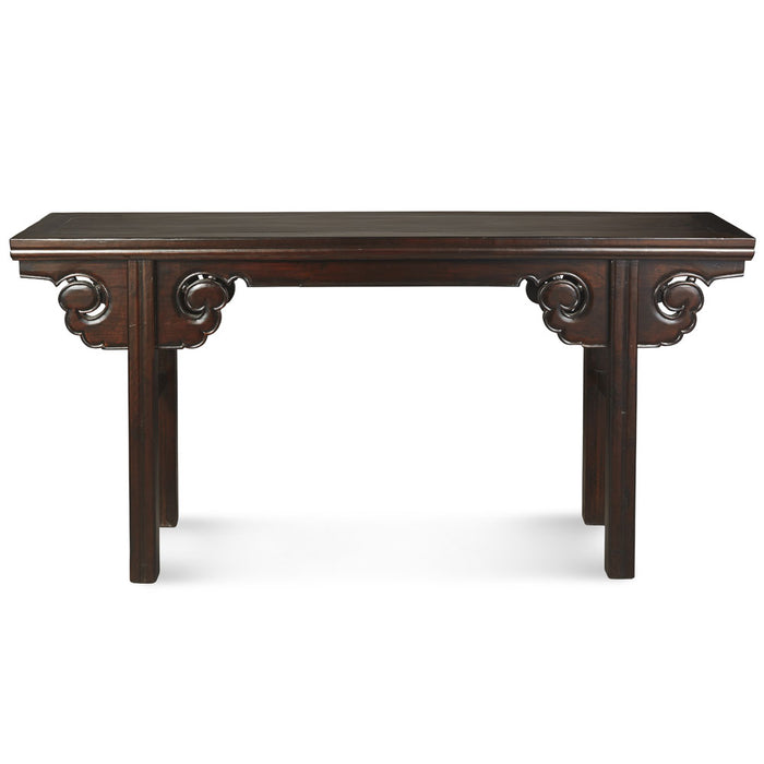 Black Lacquer Carved Console Table