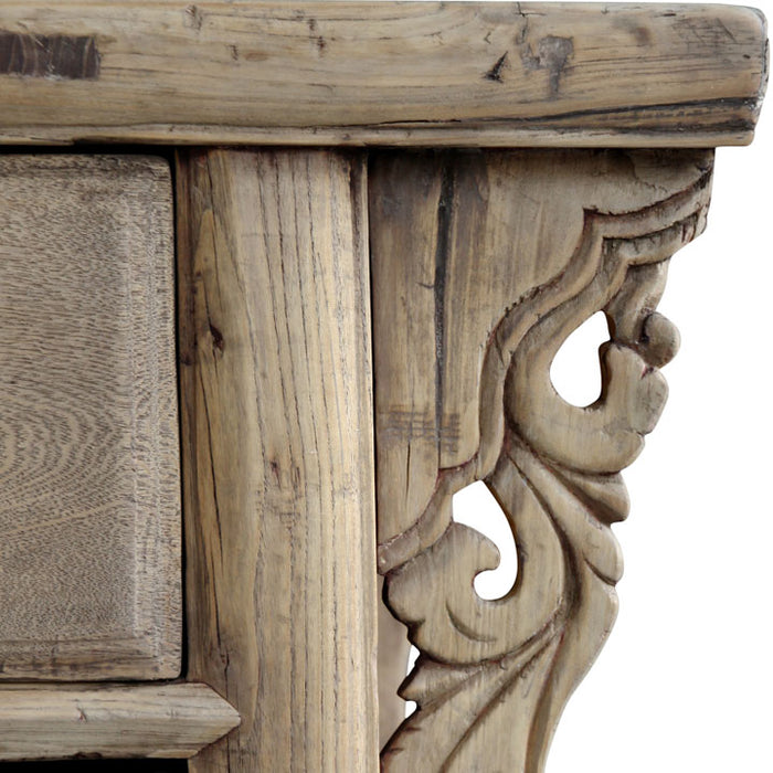Carved Temple Table in Natural Wood Finish
