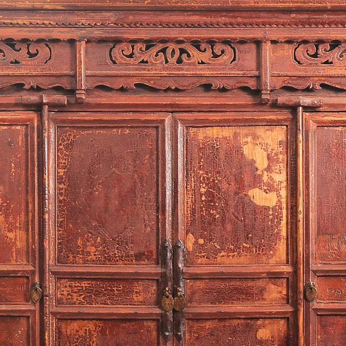 Rustic Elm Chinese Temple Cabinet