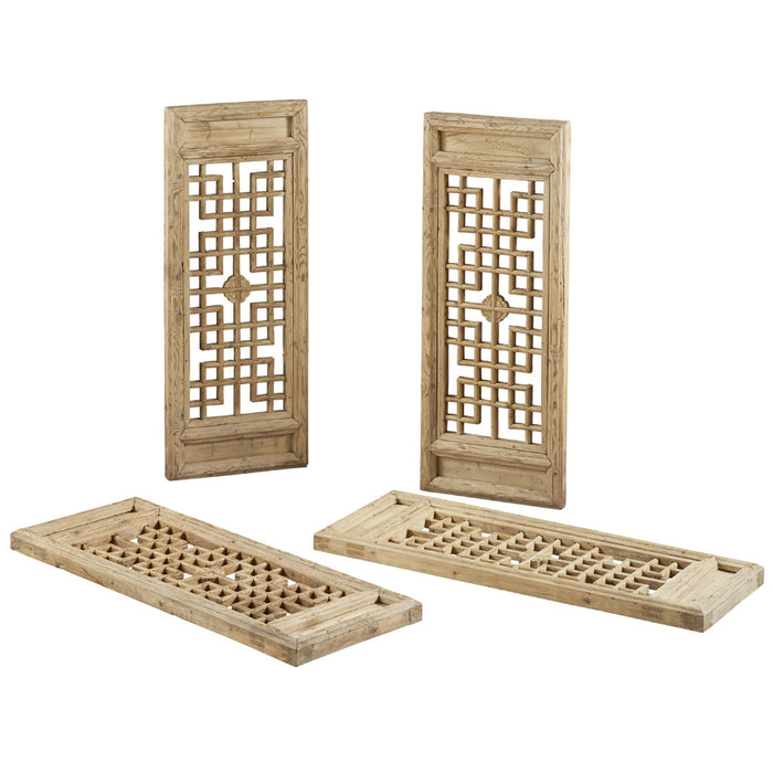 Set of Four Natural Elm Lattice Wall Panels