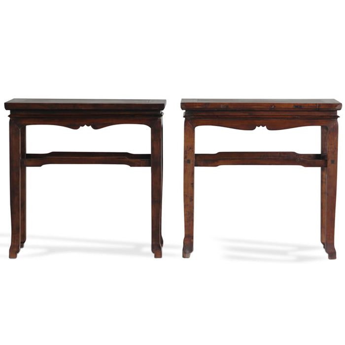 Pair of Walnut Consoles, Chinese Tables