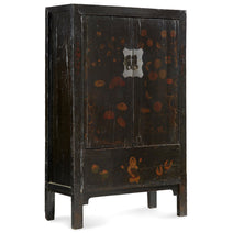 Black Lacquer Wedding Cabinet with Floral Paintings