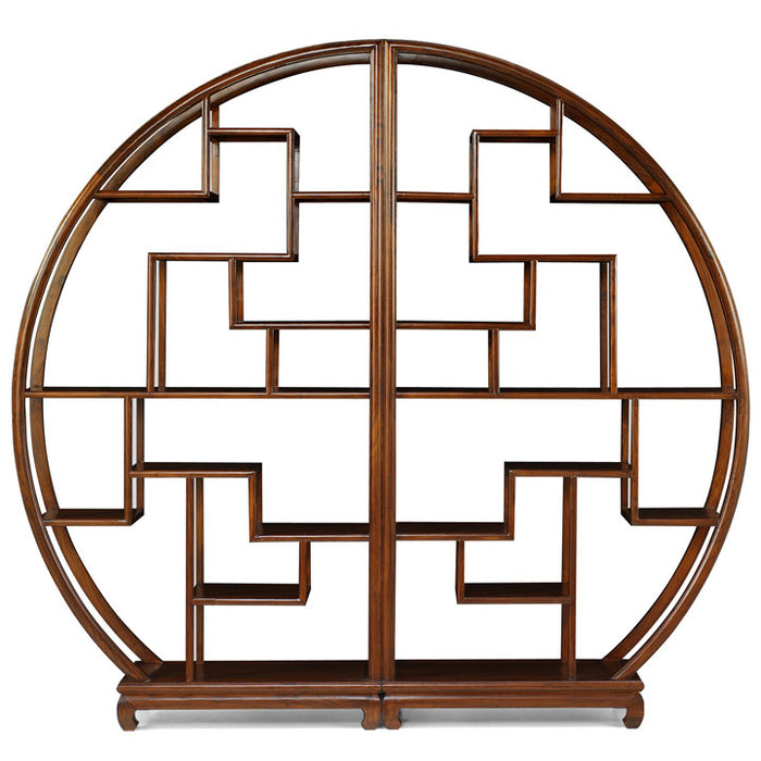 Chinese Circular Display Shelf, Warm Elm