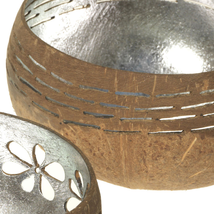 Carved Coconut Bowl T-Light Holder, Silver