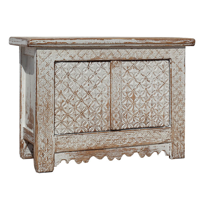 Patterned Cream Side Cabinet