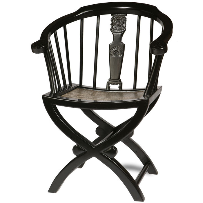 Cross Legged Armchair, Black Lacquer