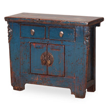 Distressed Blue Lacquer Storage Cabinet