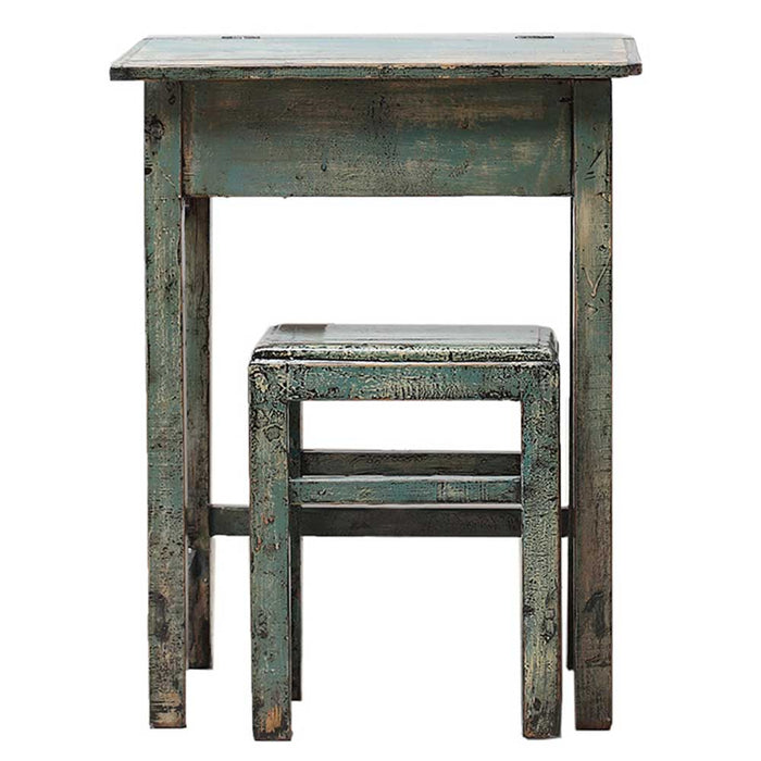 Distressed Lacquer Desk and Stool
