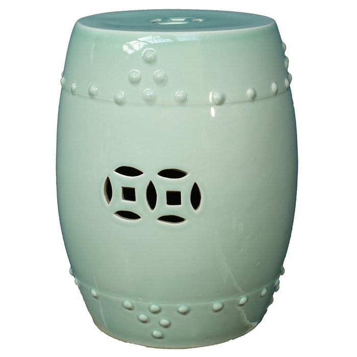 Duck Egg Blue Ceramic Stool