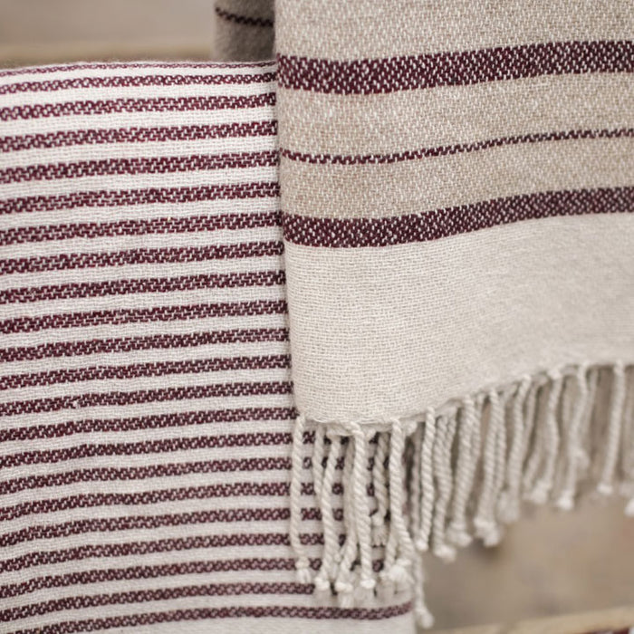 Etawah Wool Throw, Stone and Burgundy