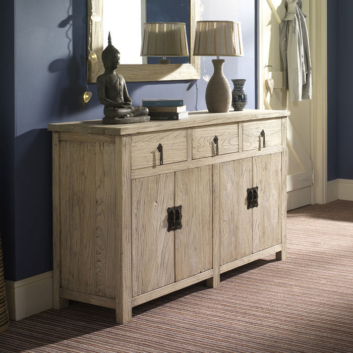 Four Door Reclaimed Elm Wood Sideboard