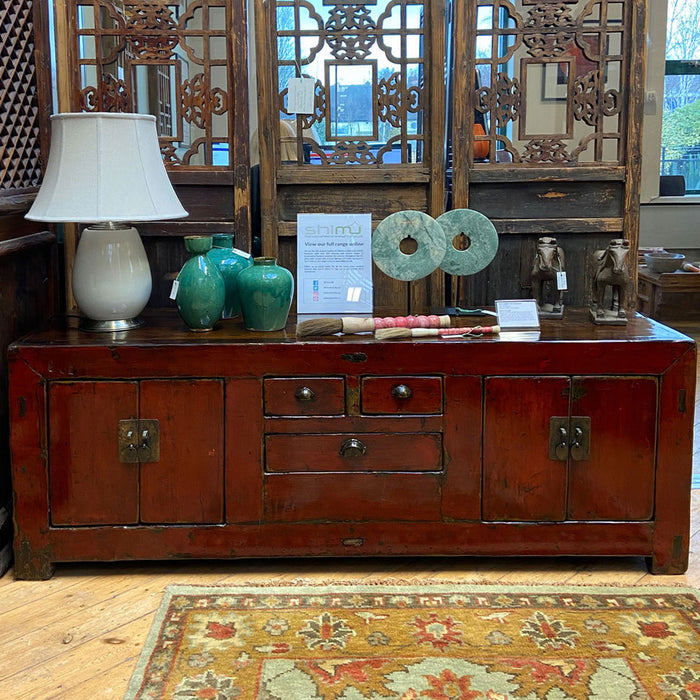 Gansu Red Lacquer Low Sideboard