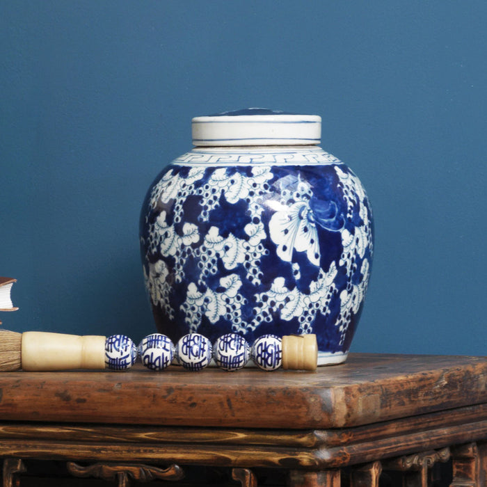 Blue and White Ginger Jar with Butterflies