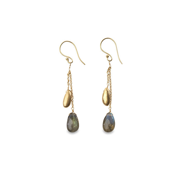 Keebu Gold Labradorite Earrings